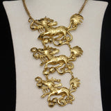 Qilin Dragon Necklace Figural Breastplate Runway Vintage Large