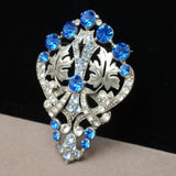 Large Brooch with Blue and Clear Rhinestones 1940s