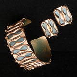 "Renoir Set Cuff Bracelet and Earrings Vintage Copper ""Espana"""