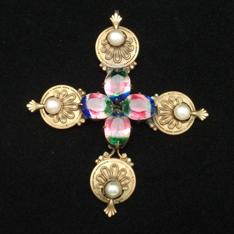 Cross with Iris Rhinestones
