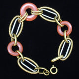 "Art Deco Bracelet 5 Link Shapes and Donuts 8 1/2"" Long"