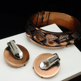 Renoir Set Hinged Bracelet and Earrings Vintage Copper