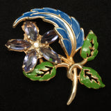 Flower Pin Retro Enamel Purple Stones Vintage Brooch