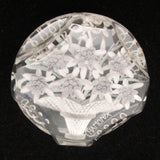 Basket of Edelweiss Flowers Brooch Pin Carved Lucite Chamonix France