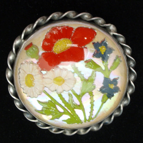 Reverse Intaglio Pin Goofus Glass Flowers Sterling Silver Vintage Brooch