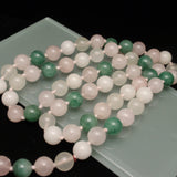 Triple Strand Necklace Rose Quartz Moonstone Jade