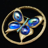 Butterfly Brooch Pin Iridescent Cabs & Turquoise Beads