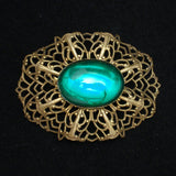Oval Ruffle Pin with Large Green Cab Vintage Brooch