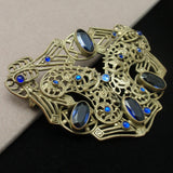 Blue Stones Sash Pin Lacy Open Metal Work