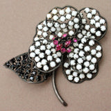 Flower Pin Vintage Schreiner NY Graphic Black White Pink Japanned Brooch