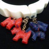 Hinged Bangle Bracelet w/ Scottie Dog Charms Vintage Plastic