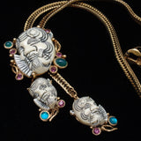 Asian Face Bolo Necklace Vintage Selro Rhinestones Slide