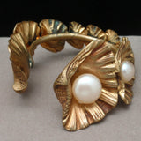 Shells Cuff Bracelet Vintage Couture Graduating Sizes with Imitation Pearls