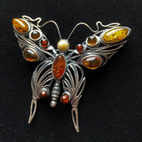 Butterfly Brooch Sterling Silver 3 Colors Amber Vintage Pin