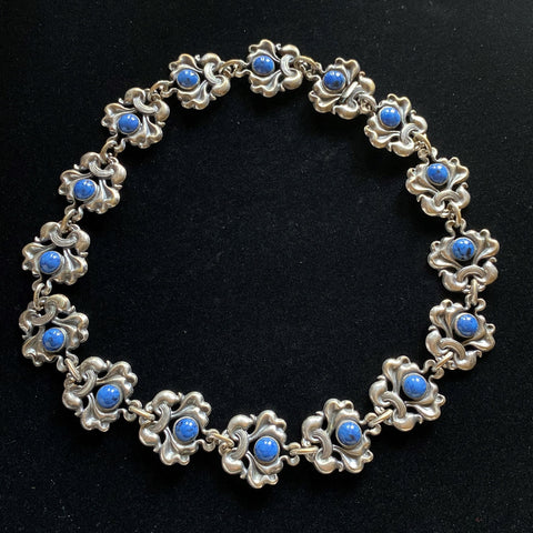 Vintage Necklace Blue Cab Stones Silver Plated