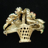 Basket of Flowers Brooch Pin Enamel Figural Vintage