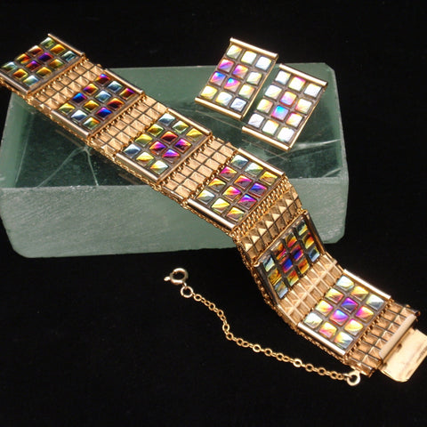 """Stained Glass"" Bracelet and Earrings Set"