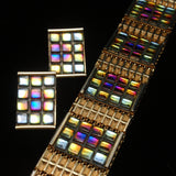 """Stained Glass"" Bracelet & Earrings Set Vintage Colorful"