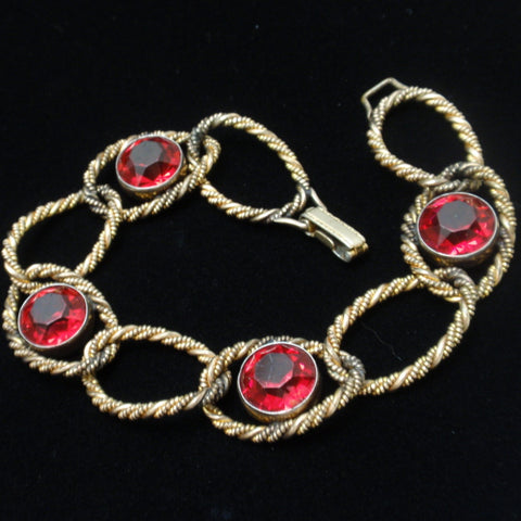 Vintage Bracelet Rope Textured Curb Links Red Stones 12k GF Sturdy