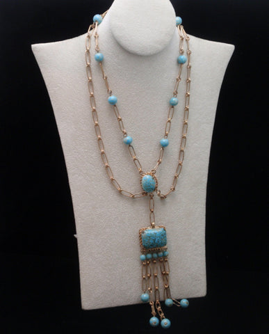 "Swag Necklace with 5"" Pendant Drop Vintage"