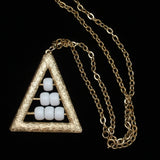 Retro Triangle Necklace with Moving White Beads Vintage