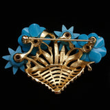 Basket of Flowers Brooch Pin Trifari Rhinestones Enamel Bright Blooms