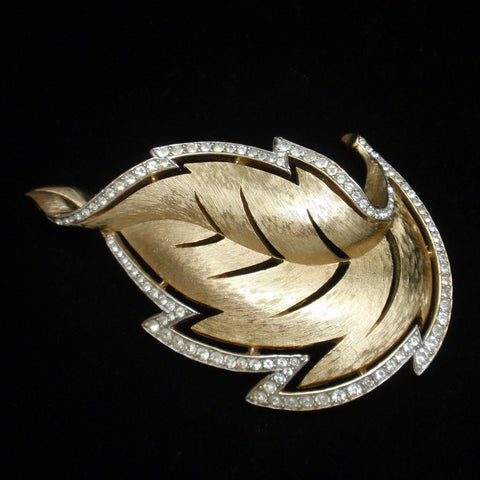 Rhinestone Rimmed Leaf Brooch Pin Satin Finish Vintage Trifari