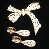 Large Bow Pin & Earrings Set Vintage Trifari Modern Mosaics Series