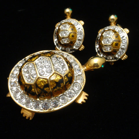 Turtle Pin and Earrings Set