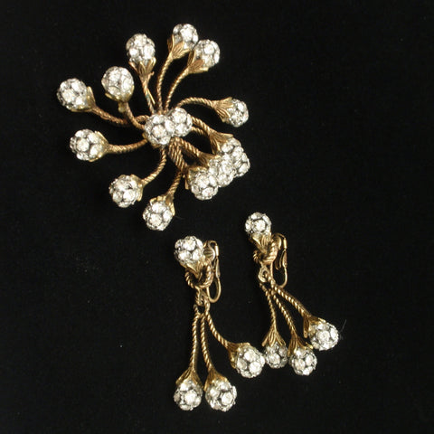 Spiky Rhinestone Pin & Earrings Set