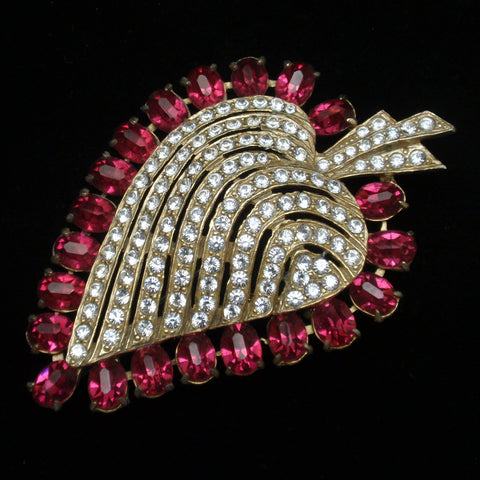 Rhinestone Leaf Brooch Pin Vintage Joseph Wiesner NY Optional Pendant Bail