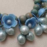 Blue Bells Necklace Vintage Wood Celluloid and Teardrops