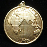 Globe Charm Puffy 14k Yellow Gold 2-Sided Excellent Details