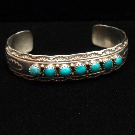 Yazzie Navajo Silver and Turquoise Bracelet