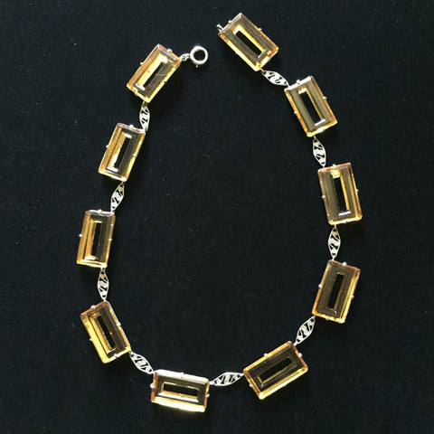 Art Deco Yellow Glass Necklace