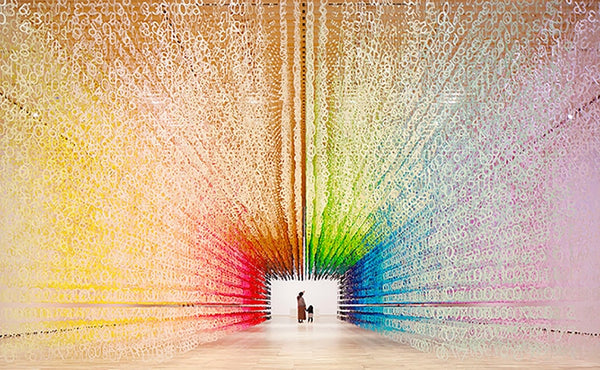 Rainbow tunnel made of 120,000 paper numbers visualizes the passage of time