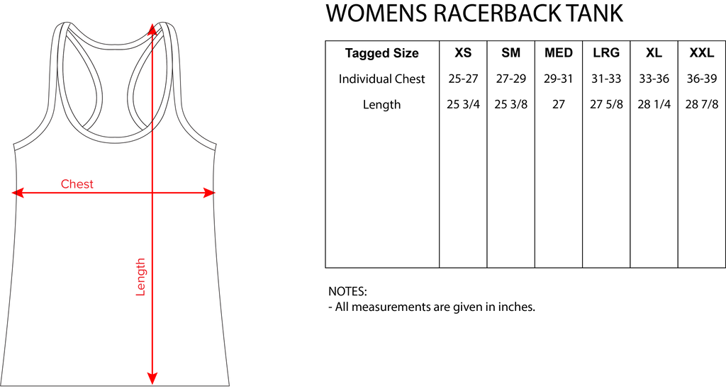 Acid Math Sizing Chart Racerback Tanks