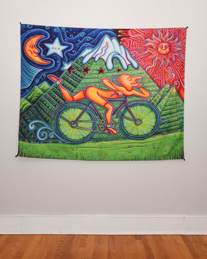 Bicycle Day Tapestry 60x48 Inches by John Speaker