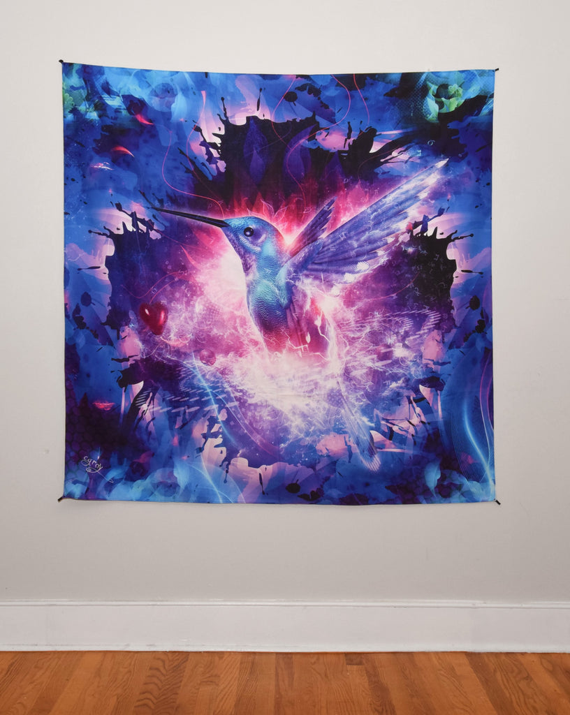 Hummingbird Love Tapestry 60x60 Inches by Cameron Gray
