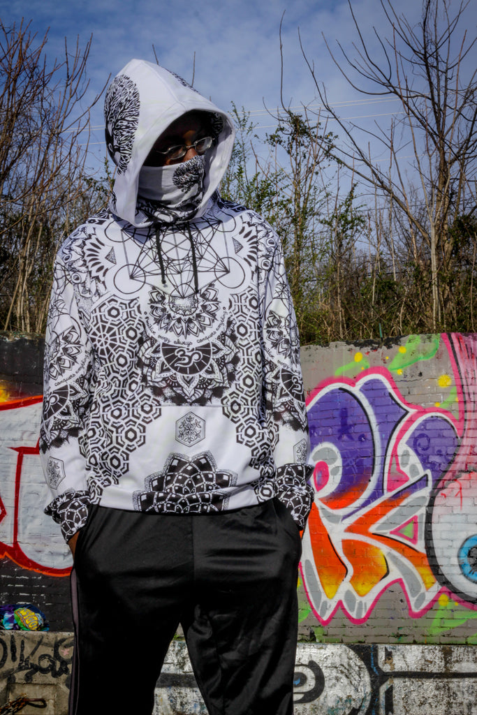 White Geometric Hoodie by Mil Et Une