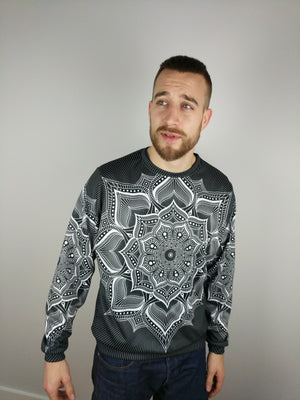 Monochromatic Mandala Crewneck Sweater by Brock Springstead