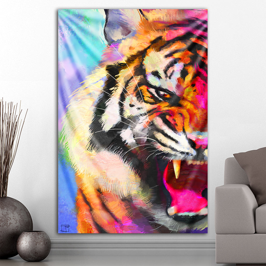 Colorful Tiger Tapestry by Phazed