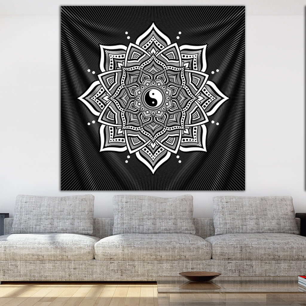 Ying Yang Mandala Tapestry by Brock Springstead