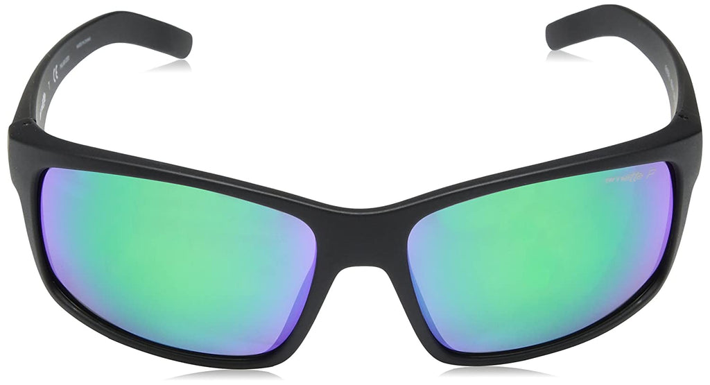 Arnette Men's AN4202 Fastball Rectangular Sunglasses, Matte Black/Polarized Grey Mirror Green, 62 mm