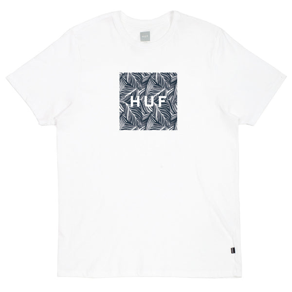 Huf Palm Leaf Box Logo T-Shirt White Shirts Ascent Wear