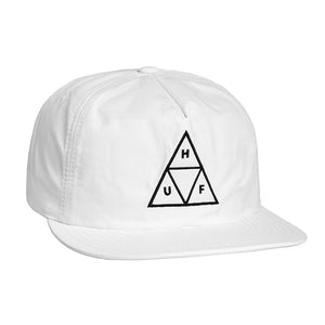 Huf Triple Triangle Snapback Hat White Hats Ascent Wear