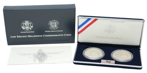 2000 Leif Ericson 2-Coin Commemorative Silver Dollar Proof Set