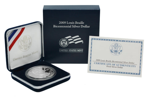 2009 Louis Braille Commemorative Silver Dollar Proof