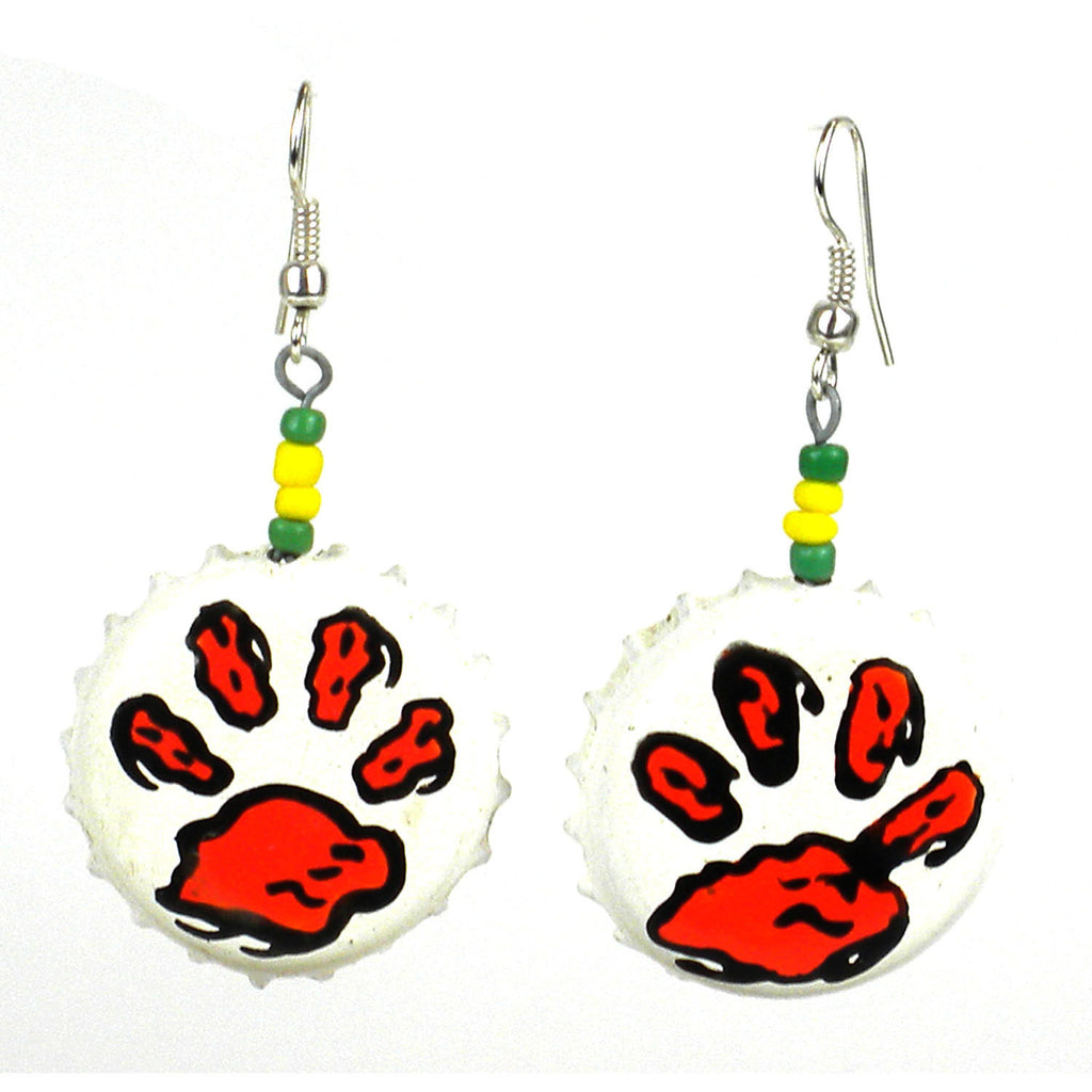 Recycled Bottlecap Tiger Paw Earrings Handmade and Fair Trade
