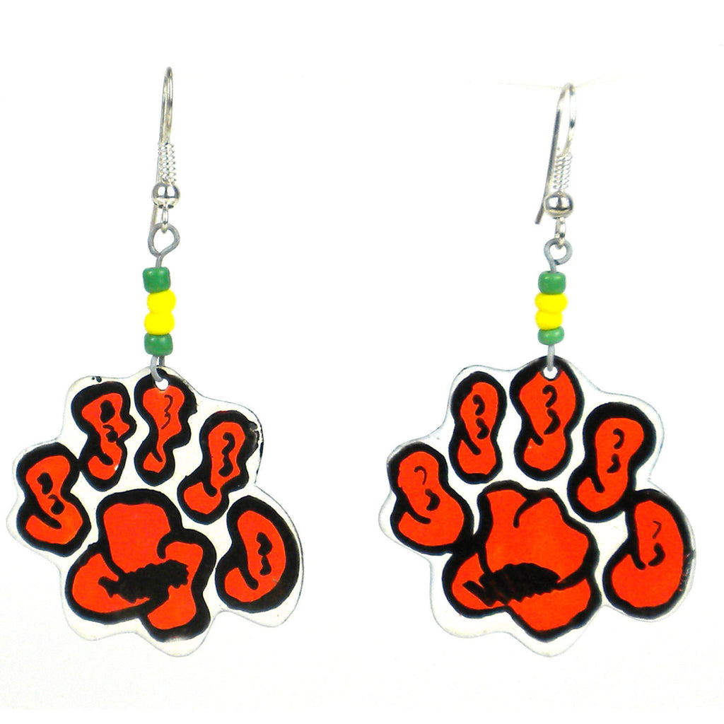 Recycled Tiger Paw Earrings Handmade and Fair Trade